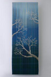 Warp ikat embroidery winter motive